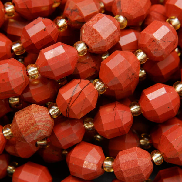 Faceted Red Jasper Loose Beads For Jewelry Making - Energy Prism Shape