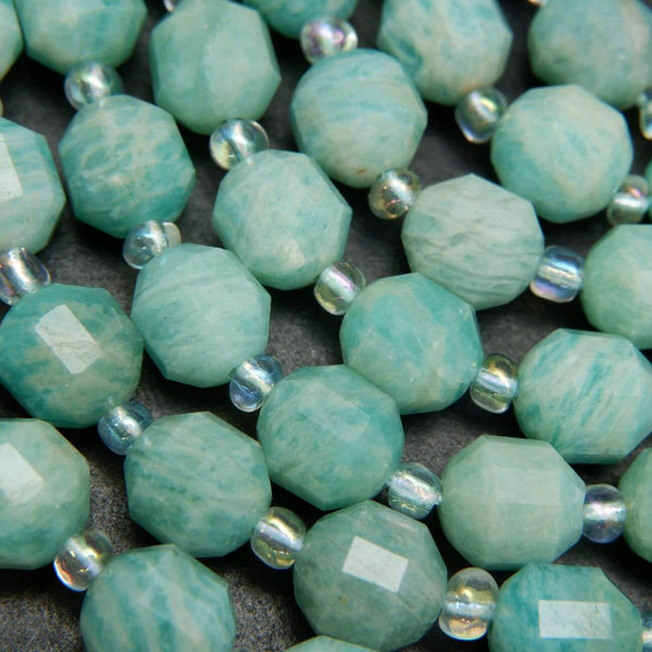 Faceted Prism Shape Russian Amazonite Beads For Jewelry Making. Light Blue Beads for Handmade Jewelry. Great For Necklaces and Bracelets.
