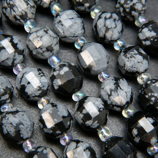 Natural Snowflake Obsidian Loose Beads For Jewelry Making