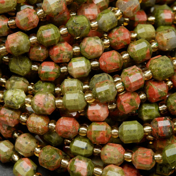 Faceted Prism Shape Unakite Beads