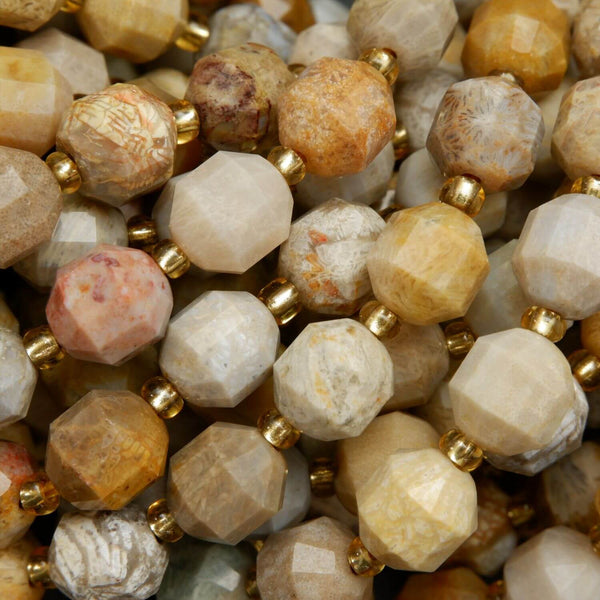 Beige and Tan Color Coral Beads in Faceted Prism Shape. Loose Beads on a string for handmade jewelry making.