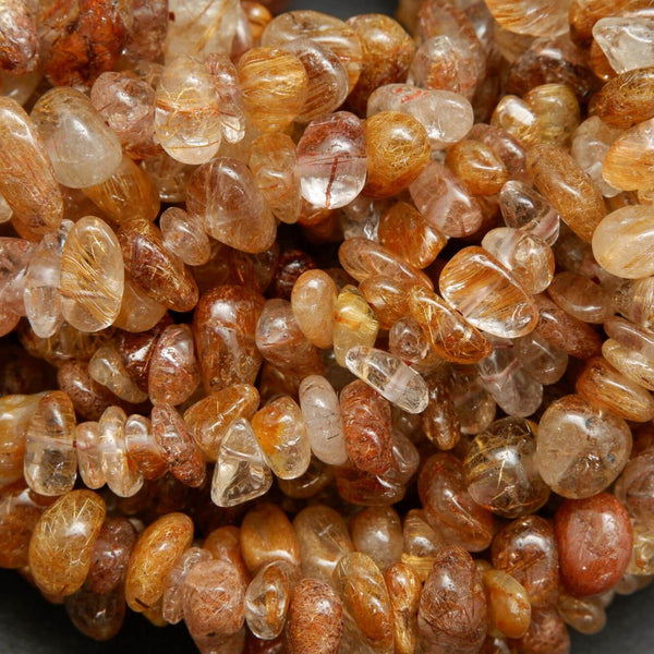 Bronze Color Golden Rutilated Quartz Polished Chip Beads