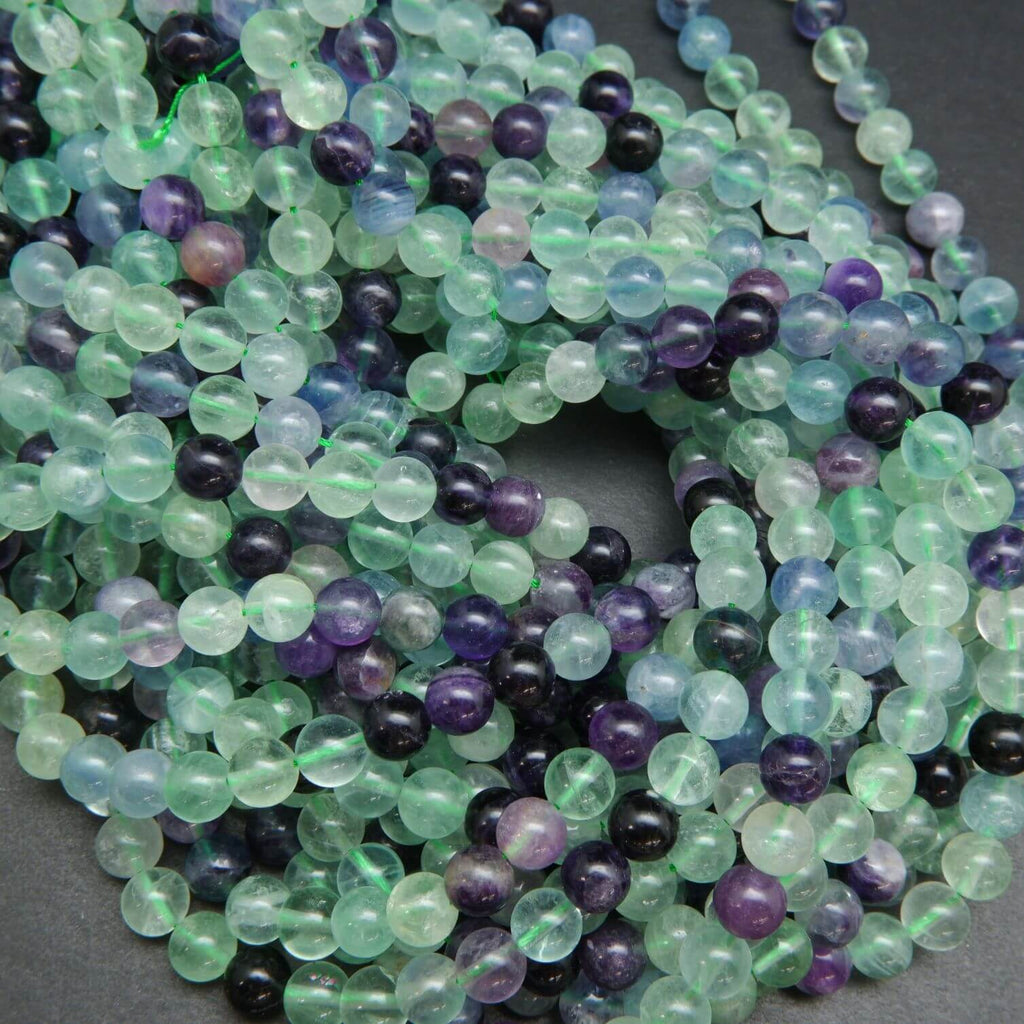 Round green and purple fluorite beads for jewelry making