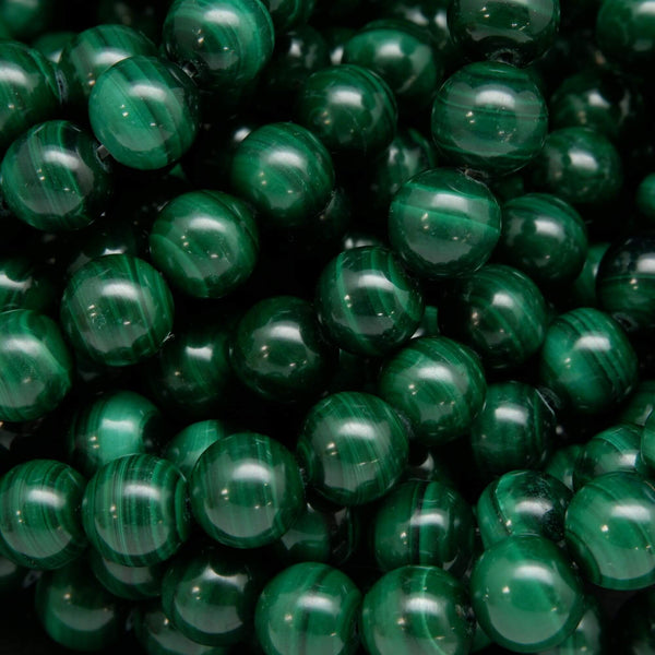 Round Malachite Beads for Jewelry Making