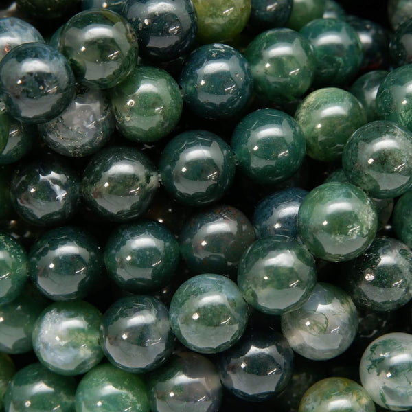 Round Green Moss Agate Beads