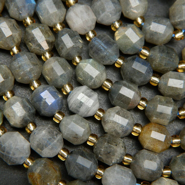 Grey Labradorite Faceted Prism Beads