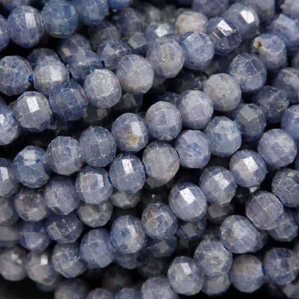 Lantern Faceted Blue Sapphire Beads. Rondelle Beads For Jewelry Making.