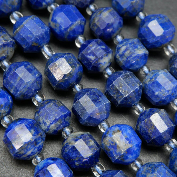Blue lapis lazuli beads with white calcite and gold pyrite flakes. Blue loose gemstone beads for handmade jewelry.