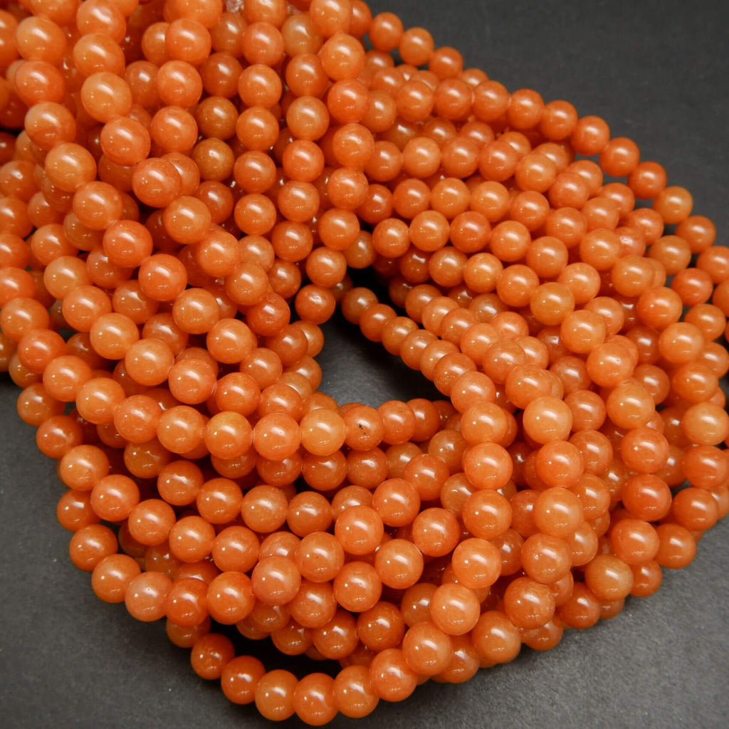 Polished Orange Red Aventurine Beads