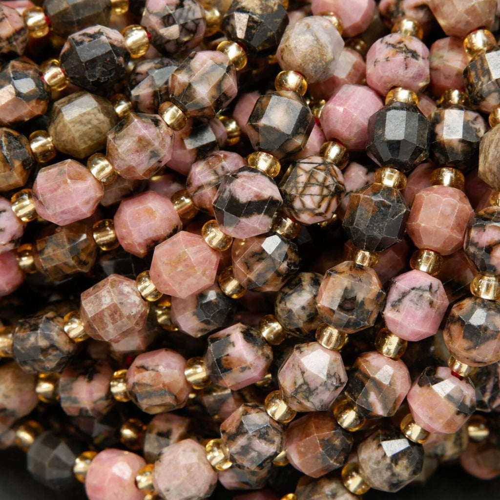Faceted Rhodonite With Matrix Prism Beads