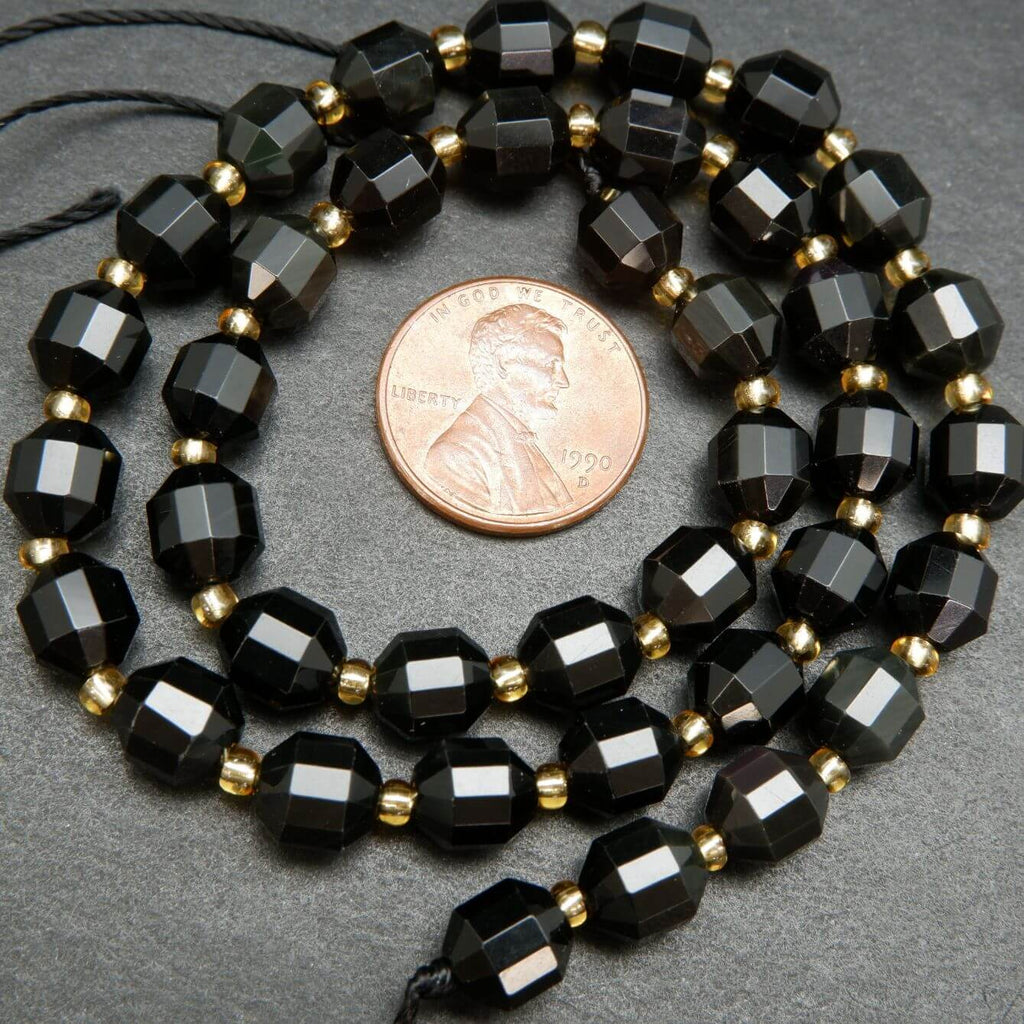 Black Rainbow Obsidian Faceted Prism Beads
