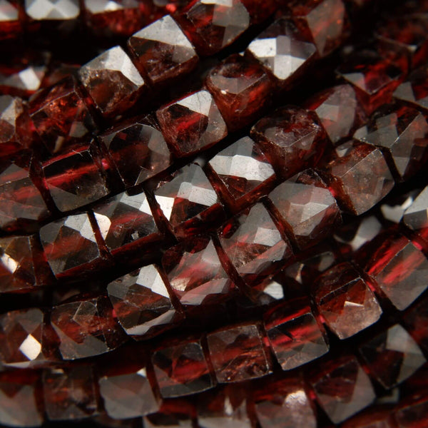 Faceted Red Garnet Cube Beads
