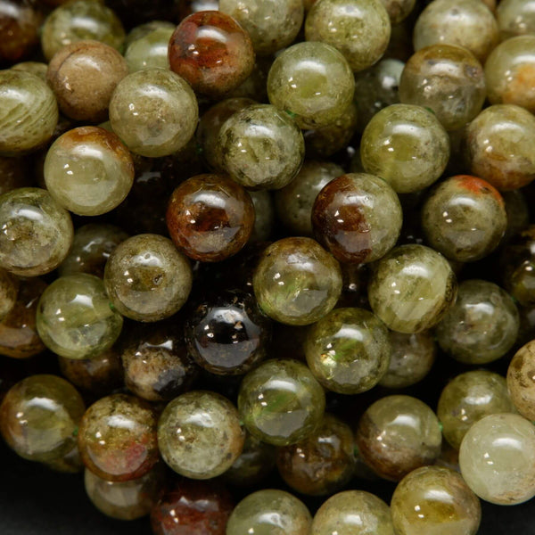 Natural Round Green Garnet Beads For Jewelry Making