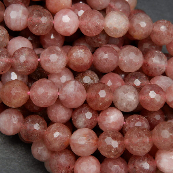 Faceted Pink and Red Strawberry Quartz Beads