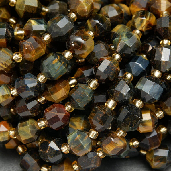 Golden Blue Tiger's Eye Prism Beads