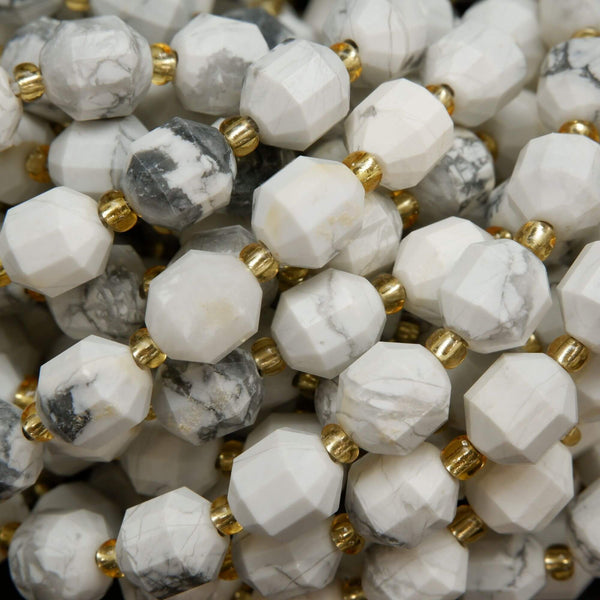 White Howlite Faceted Prism Beads