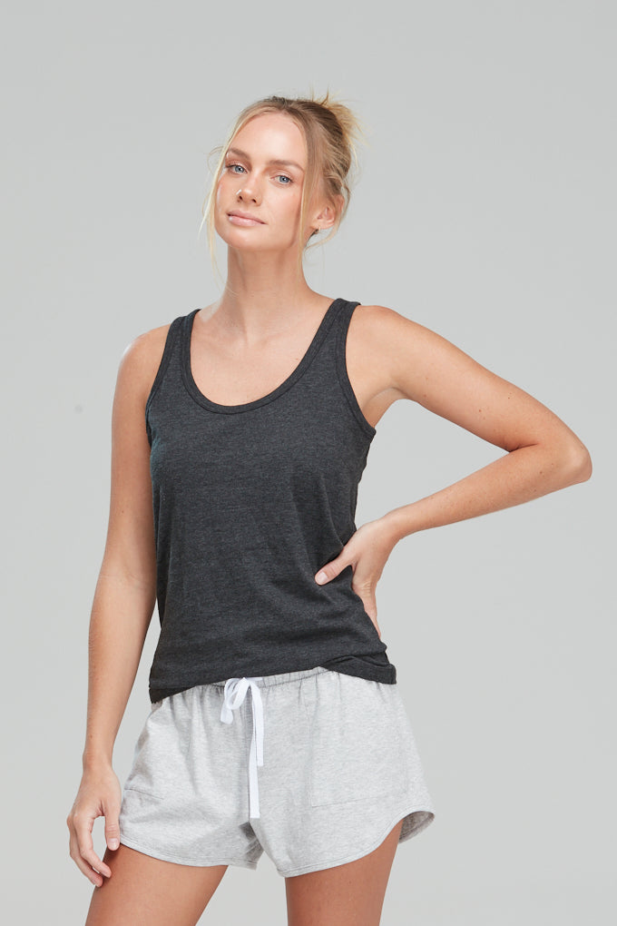 Isla Singlet Organic Cotton Charcoal