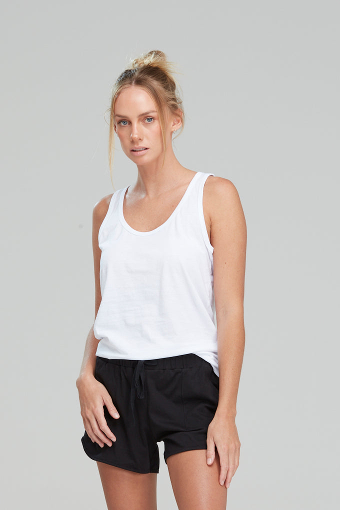 Isla Singlet Organic Cotton White