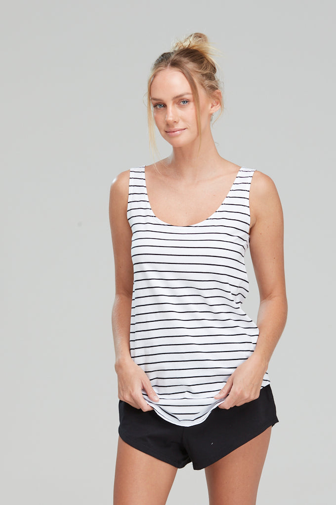 Singlet Organic Cotton Black Stripe