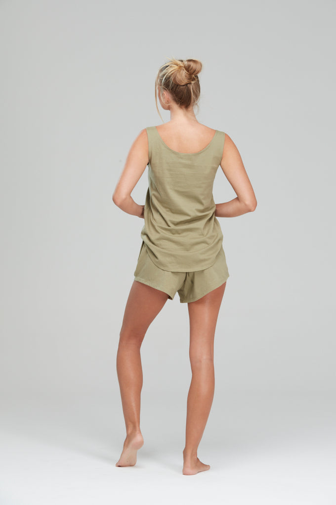 Luxe Singlet Lounge Set Olive