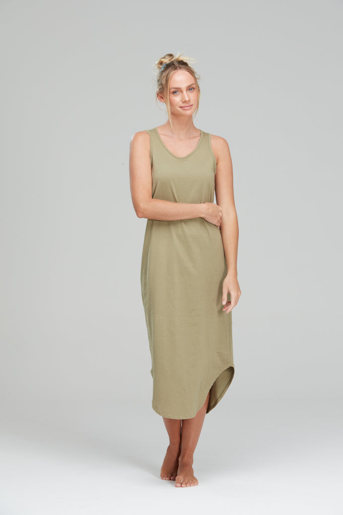 Mila dress organic cotton Olive