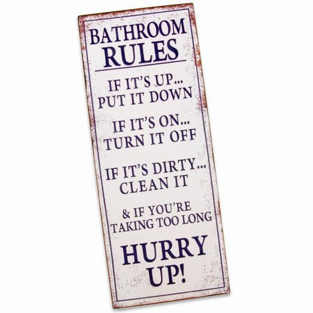 Bathroom rules - Metalskilt