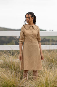 Frill Collar Dress (short length) - Tan