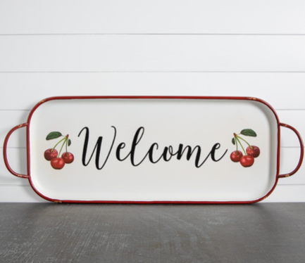 Wall Hanging - Metal Hanging Tray - Welcome