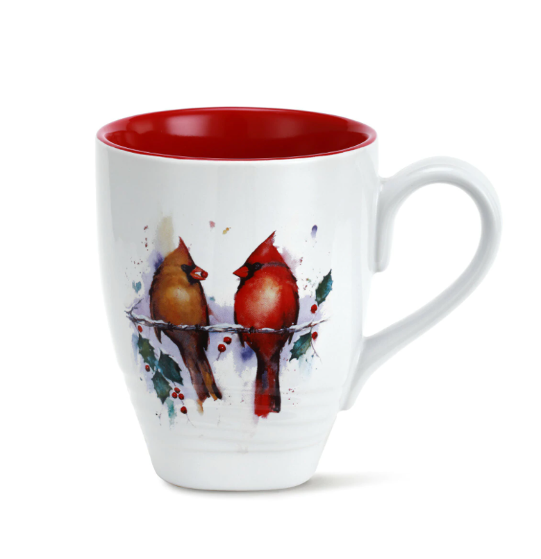 Kitchenware - Two Cardinals and Holly Holiday Mug 16 oz.