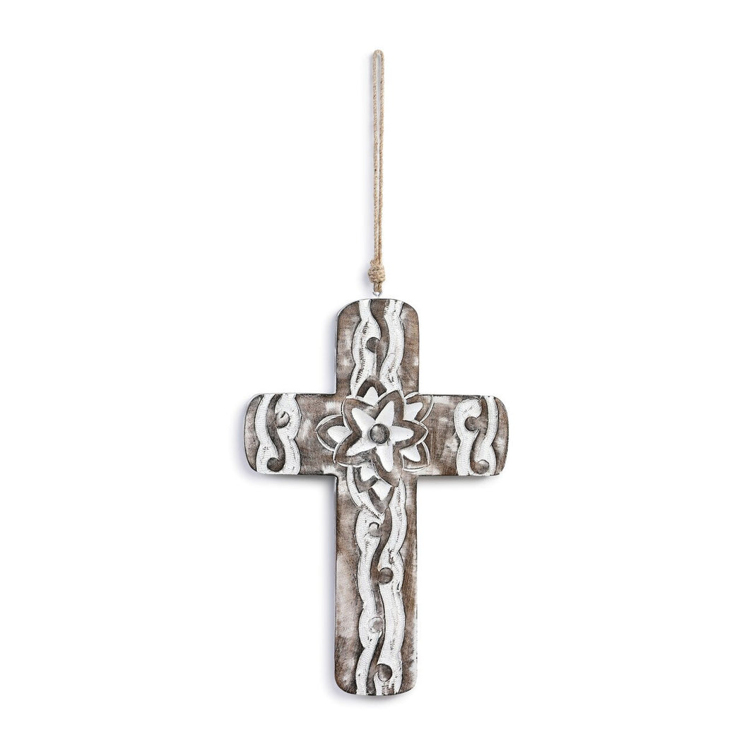 Wall Hanging - Carved Flower White Washed Wood Cross
