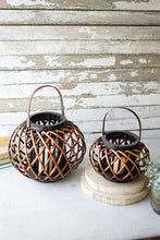 Load image into Gallery viewer, Table Top - low round brown willow lanterns