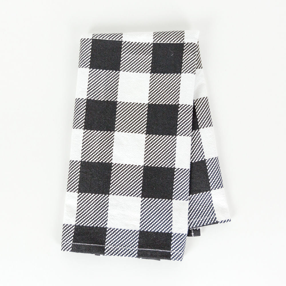 Linen and cotton - black and white hand towel