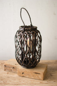Wall Hanging - dark brown willow lantern with glass