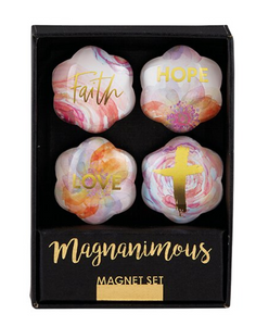 Misc - Flower Magnets - Faith, Hope, Love.