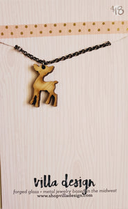 Doe Silhouette Wood Cut Necklace