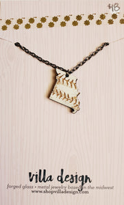 MO Baseball Wood Cut Necklace
