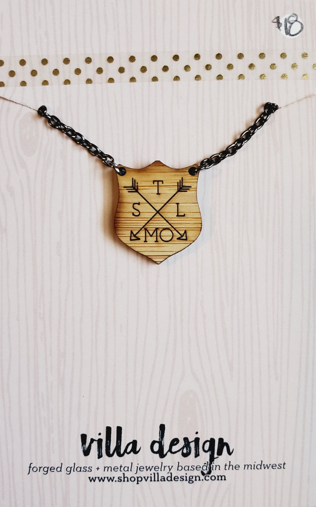 STL MO Wood Cut Necklace