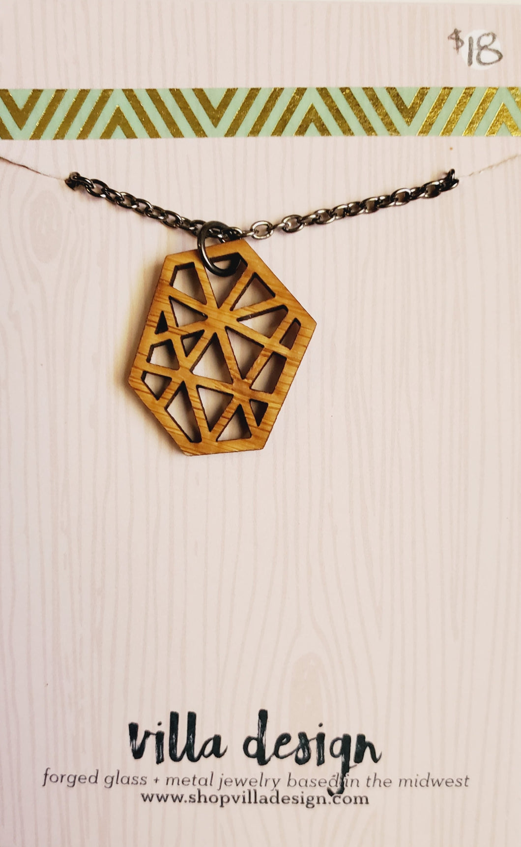 Geometric Wood Cut Necklace
