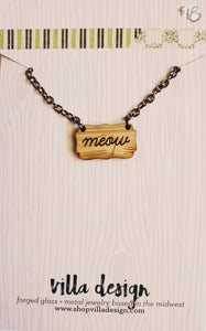 Meow Wood Cut Necklace