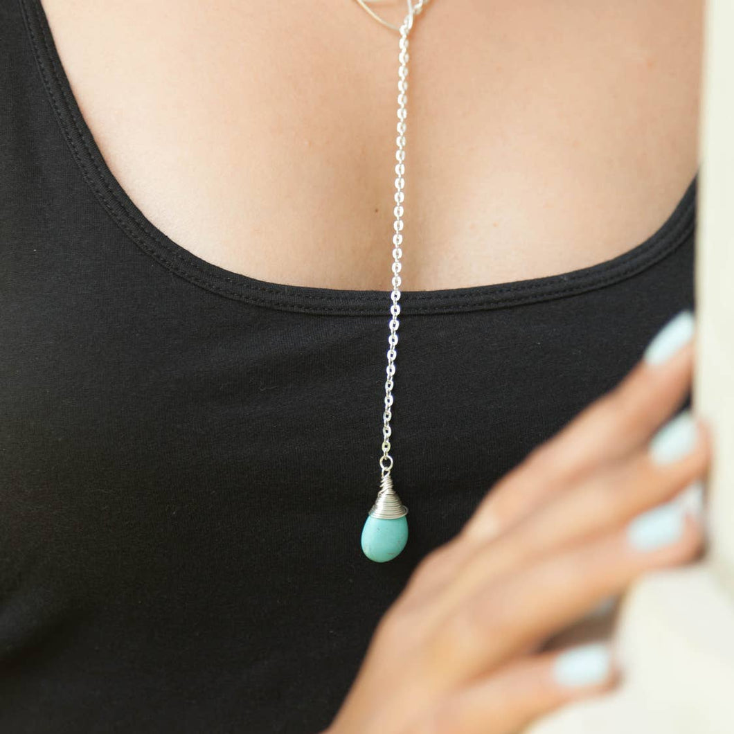 Turquoise Sterling Silver Lariat Necklace