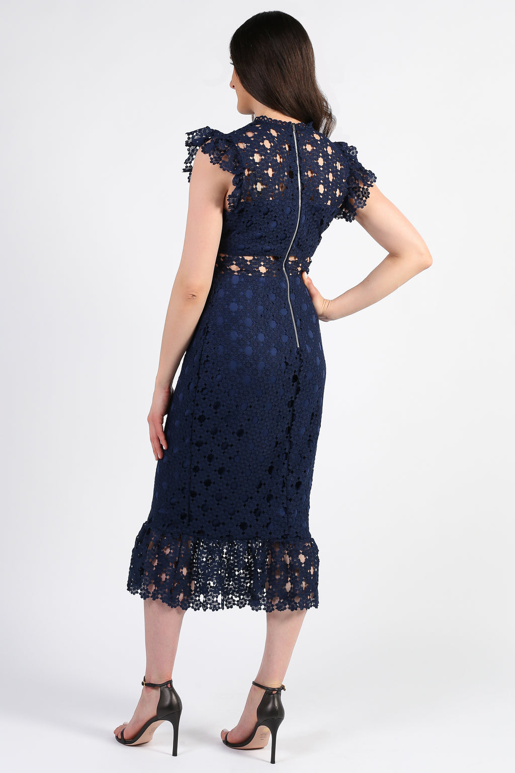 Samantha Lace Trumpet Bottom Midi Dress - honey