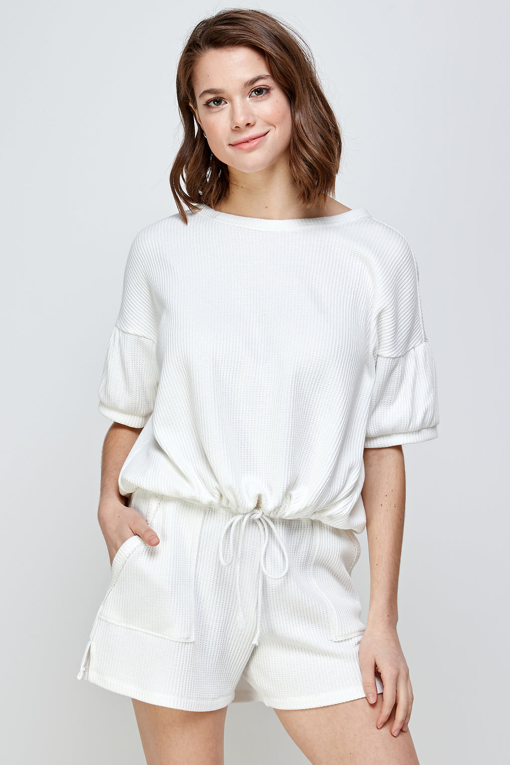 Tie Front Waffle Knit Top - honey