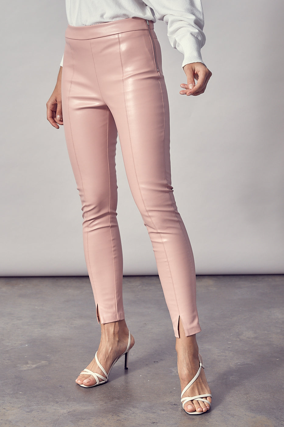 Front Slit Vegan Leather Pants - honey