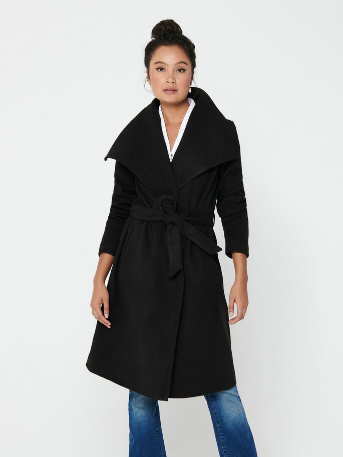 Phoebe Mid Length Drapey Wrap Coat