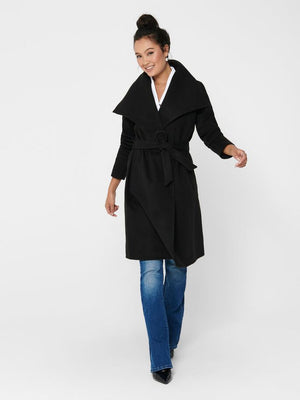 Phoebe Mid Length Drapey Wrap Coat - honey
