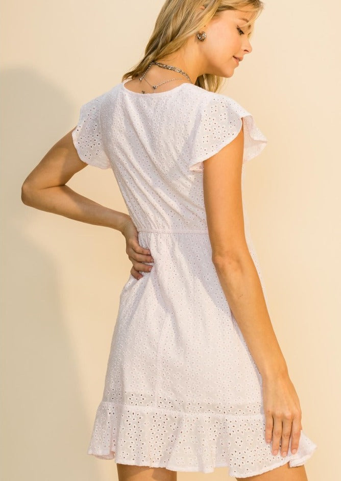 Anabelle Eyelet Wrap Mini Dress - honey