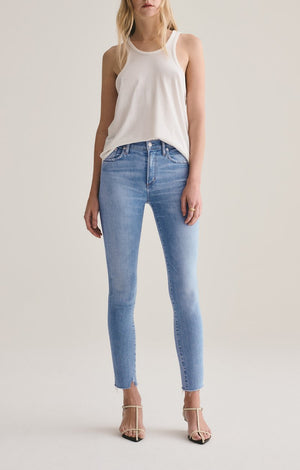 Sophie Mid Rise Skinny Ankle with Raw Hem