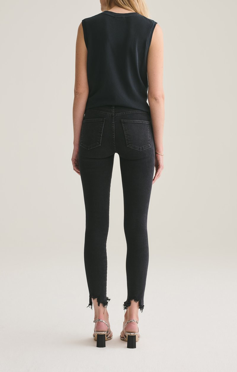 Sophie Mid Rise Skinny Ankle with Distressed Hem