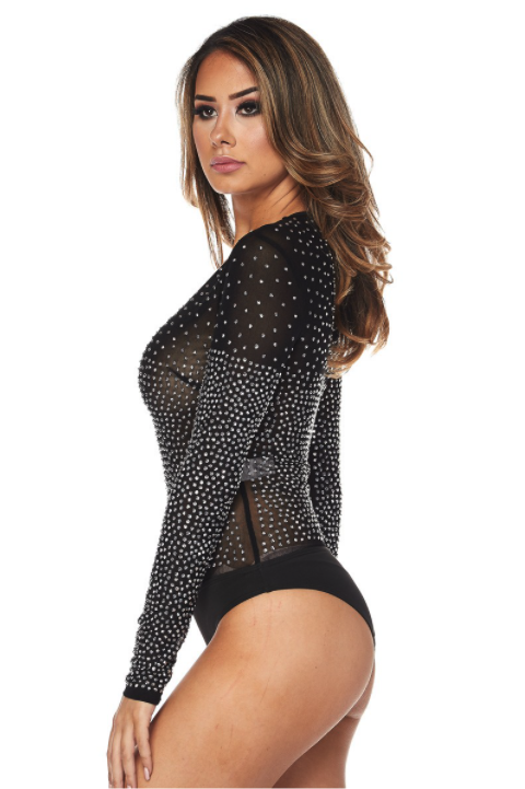 Mesh Bodysuit with Studded Embellishment - honey