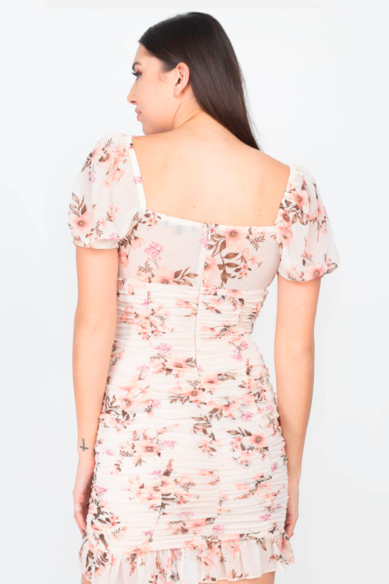 Lucianna Ruched Floral Mini Dress - honey
